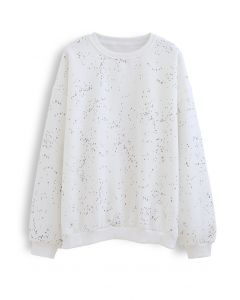 Geflecktes Fleece-Sweatshirt in Weiß