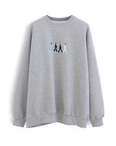 Graues besticktes Sweatshirt mit Rundhalsausschnitt