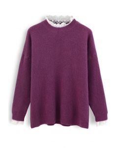 Lacy Details Fuzzy Knit Sweater in Plum