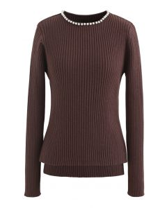 Pearl Neck Ribbed Hi-Lo Knit Sweater in Brown