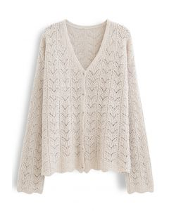 Hollow Out Knit Cami Top and Cardigan Set in Linen