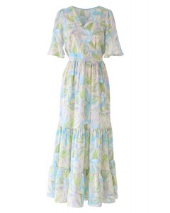 Multicolor Leaves Print Frill Hem Wrap Maxi Dress