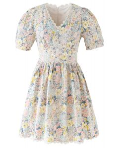 Blooming Flower Buttoned Crochet Embroidered Dress