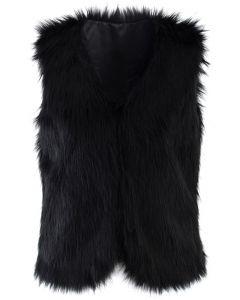 Chaleco chicwish en piel sintética en negro
