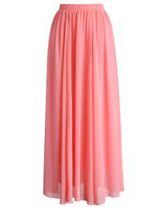 Süßes rosa Chiffon langes Kleid