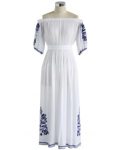 Boho Nymph - Weißes schulterfreies langes Kleid