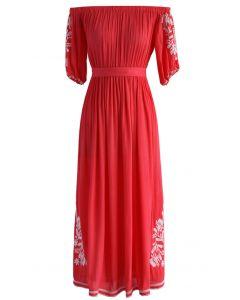Boho Nymph - Trägerloses langes Kleid in Korallenfarben