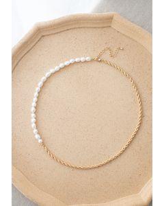 Goldene Kette Perlen Halskette