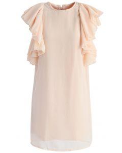 Nervöse Rüschen - beige geschichtetes Kleid