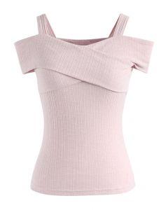 Schulterfreies trägerloses Top in Pink