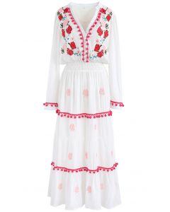 Bleiben Sie romantisch - langes Kleid bestickt