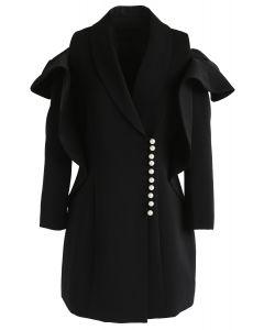 Sparkling Pearls - Schwarzes Schulterkleid mit kaltem V-Ausschnitt