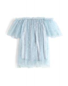 Stars Shining Out - Dove Trägerlose blaue Netz-Tunika für Kinder