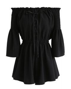 Daily Elegance - Mono corto con hombros descubiertos en negro