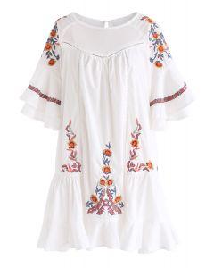 Flawless Boho - Vestido con volantes florales bordados