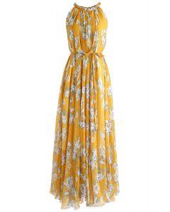 Blumensaison - Gelb Chiffon Ärmelloses Kleid