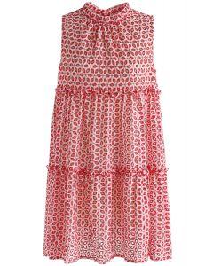 Eyelet Scintilla - Rot gesticktes ärmelloses Kleid