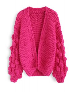Süße Ärmel - Strickjacke in Hot Rosa