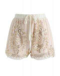 Shorts de gasa con perlas brillantes en colores crema