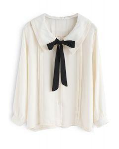 Inspiration von Pussy-Bow - Camisa und Cremefarben