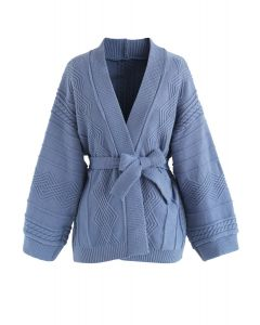 Warme Strickjacke in Taubenblau