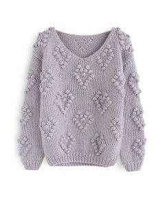 Stricken Sie Ihren Liebespullover mit V-Ausschnitt in Lavendel