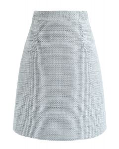 Stand There Texture Tweed Bud Skirt in Blue