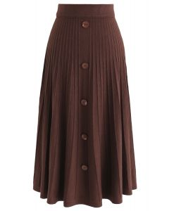 Daily Essential Knit Midi Skirt in Red Brown