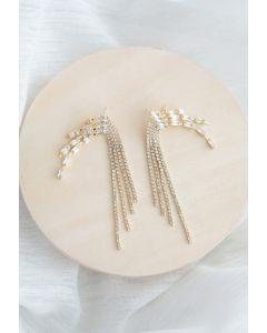 Quaste Ohrringe der Kristallkette