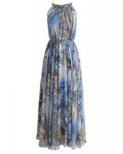 Bambus Aquarell Maxi Slip Kleid in Blau