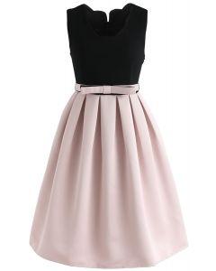 Spleißen Elegance Bowknot ärmelloses Kleid