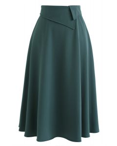 Keep on Loving You A-Line Midi Skirt in Dark Green