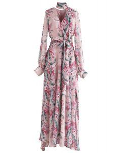 Chiffon-Maxikleid von Floral Endearment in Pink