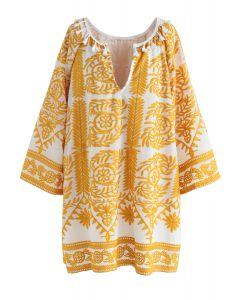 Tippen Sie auf die Skyline Boho Embroidered Dress in gelb