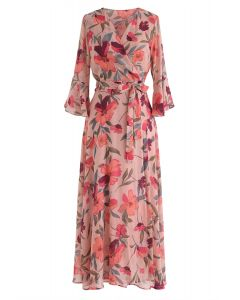 A Million Floral Dreams - Bedrucktes Chiffon-Kleid in Blush