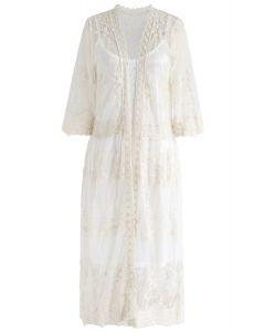 Sun Elusion - Langer Kimono aus besticktem Mesh