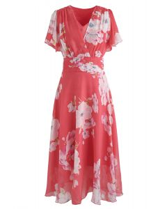 Sweet Surrender Floral Chiffon Kleid in Rot