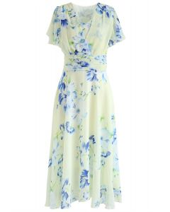 Sweet Surrender Floral Chiffon Kleid in Creme