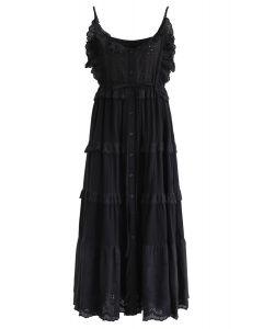 Liebe für das bestickte Cami-Kleid in Schwarz