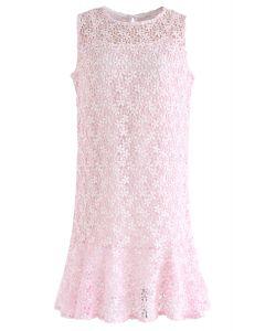 Brandneue Liebe häkeln ärmelloses Kleid in rosa