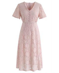 Denken Sie an mich Full Lace Midi-Kleid in Pink