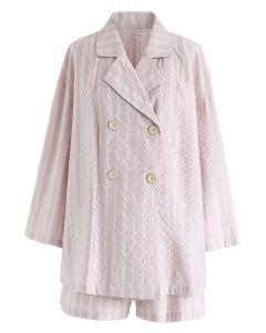 Irgendwo Streifenhemd und Shorts in Pink