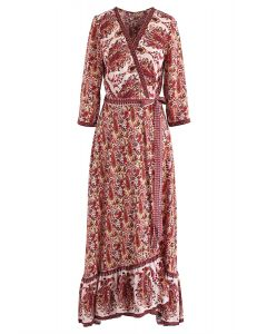 Paisley World - Boho - Wickel-Maxikleid in Rot