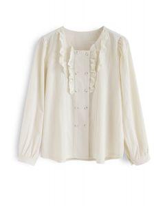 Rüschendekor Button-Down-Shirt