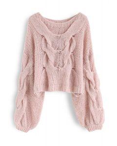 Handgestrickter Mohairpuffärmel-Pullover in Pink