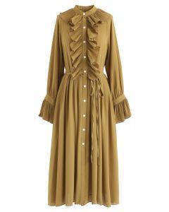 Gekräuseltes Button-Down-Chiffon-Kleid in Senf