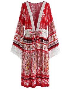 Gehäkelter, langer Kimono mit Bindefront