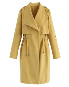 Tunnelzug Taille Longline Trenchcoat in Senf
