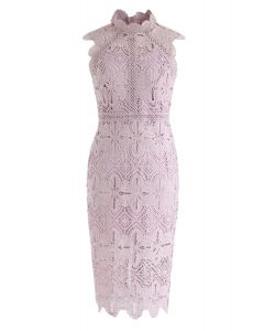 Diamond und Floral Crochet Bodycon Midi-Kleid in Pink