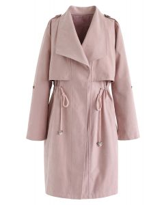 Tunnelzug Longline Trenchcoat in Pink